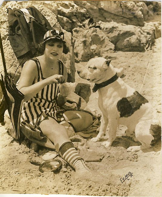 vintage picture of pitbull and woman