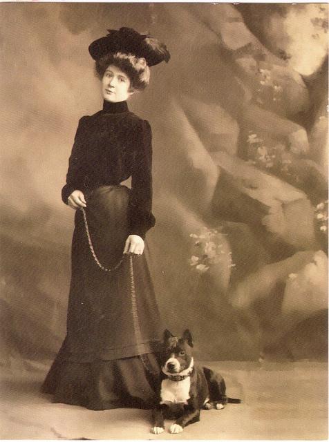vintage pitbull and woman
